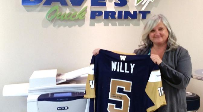 Congratulations to Erva Ritson, winner of the second-half Winnipeg Blue Bombers Jersey draw!