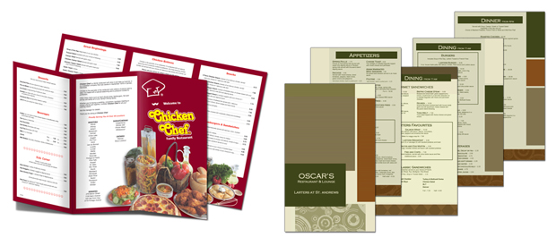 Menus by Dave's Quick Print Winnipeg Printer for over 20 years